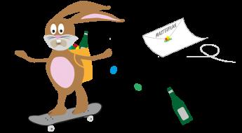 Ostern Hase auf Skateboard 740x408