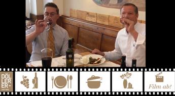 Alex Koblinger und Andreas Döllerer genießen geschmortes Lammhaxerl mit PHOENIX 2015 von Reumann