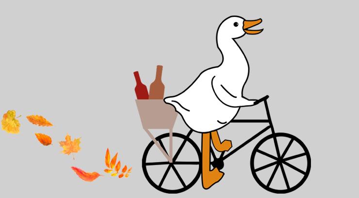 Gans bringt Weinflaschen mit Fahrrad