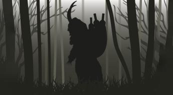 Krampusschatten im dunklen Wald